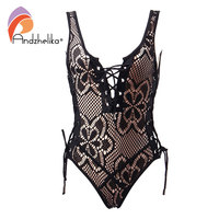 Andzhelika Bikini Black Lace One Piece Swimsuit Sexy Bandage Brazilian Vintage Halter Bodysuit Beach Bathing Suit