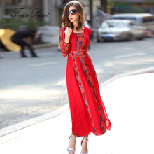 ropa 2019 Summer Women Dresses Embroidered Real silk Long Pleated dress Red Bohemian Dress vestidos casuais
