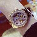 Os Recém-chegados Famosa Marca BS Completa Diamante Três Olhos Grandes Mostrador do Relógio Vestido Da Senhora Relógio de Cristal Que Bling Pulseira Relógios de Negócios