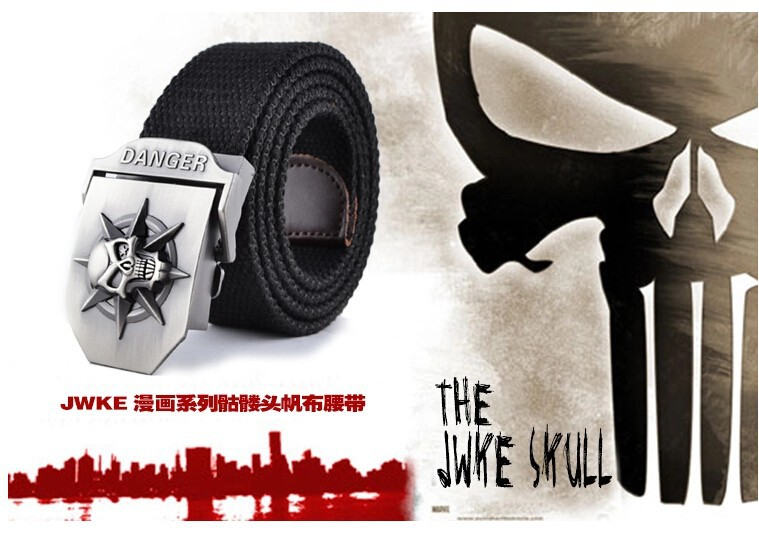 Fashion men's Canvas belt skull Metal tactics woven belt canvas belt Casual pants Cool wild gift for men belts Skull large size 1