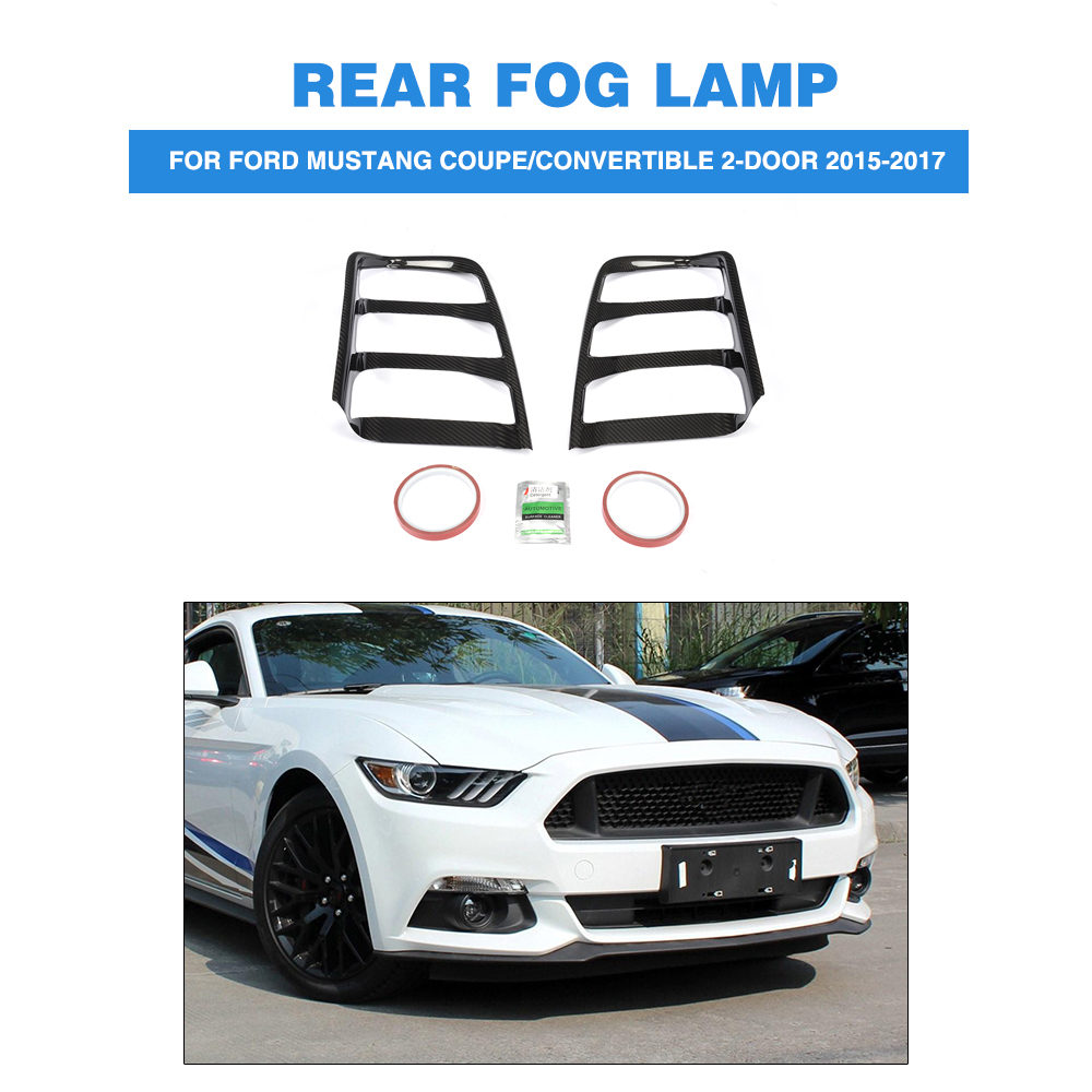 For 2015-2017 Ford Mustang Carbon Fiber Rear Tail Light Lamp Cover Trim 2PCS