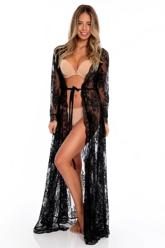 Women Sexy Long Lace Dress Sheer Gown See Through Lingerie Kimono Robe Swimsuit Cover Up DJ047