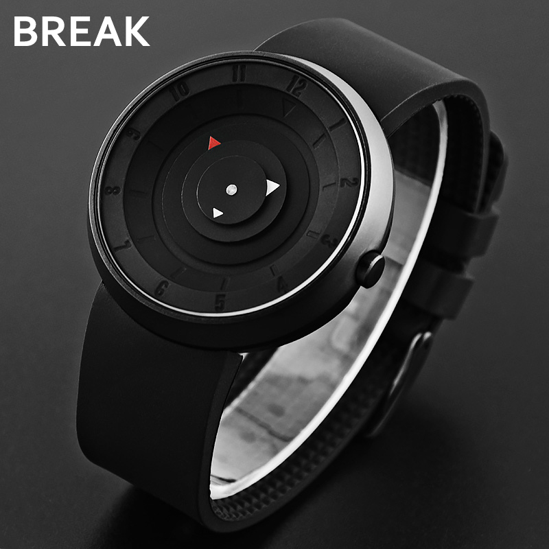 BREAK Men Unisex Creative Fashion Casual Rubber Band Sport Waterproof Quartz Watch Gift for Women Classic Black Wristwatches