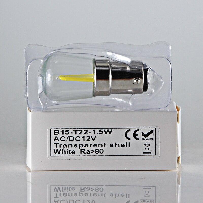Купить с кэшбэком bombillas led filament light B15 12V super T22 COB Ac Dc 12 volt 1.5W B15D candle spotlight bulb lamp BA15D home lighitng