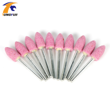 Tungfull 10pcs Abrasive Mounted Stone Dremel Accessories Grinding Stone Wheel Head For Dremel Rotary tools Bullet shape Pink
