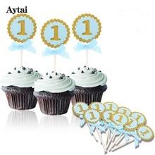 Αϊτάι 10pcs Τάρτες Toppers Baby 1ο Γενέθλια Cupcake Διακοσμήσεις Favor Round Blue & Ροζ DIY Κέικ Προμήθειες Γενέθλια Party Διακόσμηση