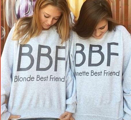 Blonde Brunette Best Friend BFF Clothing Long Sleeve Grey Sweatshirt BFF Hoodies