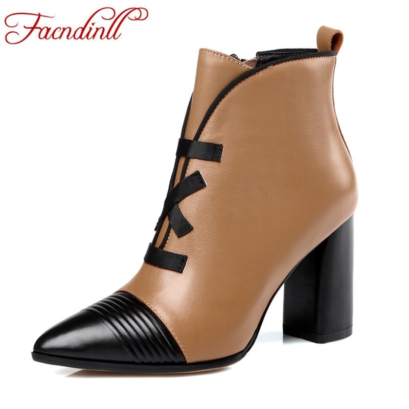 Фотография FACNDINLL genuine leather gladiator fashion women shoes ankle boots high heels pointed toe zipper shoes woman work riding boots