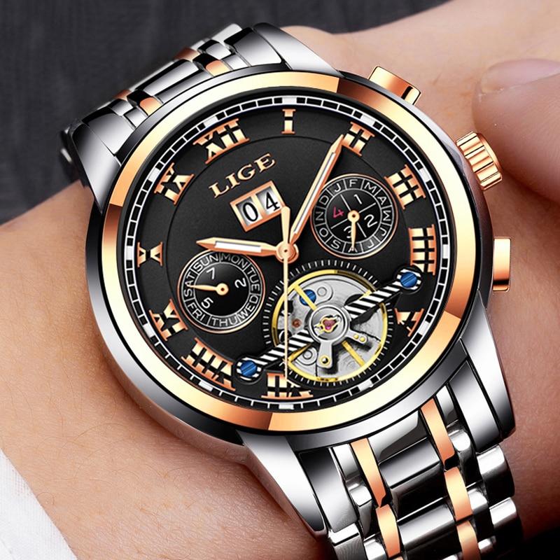 Herenhorloge Merk LIGE Herenhorloge Mechanisch horloge Waterbestendig - Herenhorloges - Foto 4