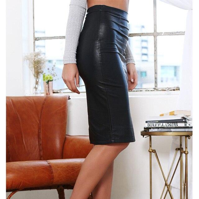 Faux Leather Sexy Pencil Skirt  2017 Chic FashionWomen Plus Size  Clothing Sheath Lady Knee-Length Skirts  6716