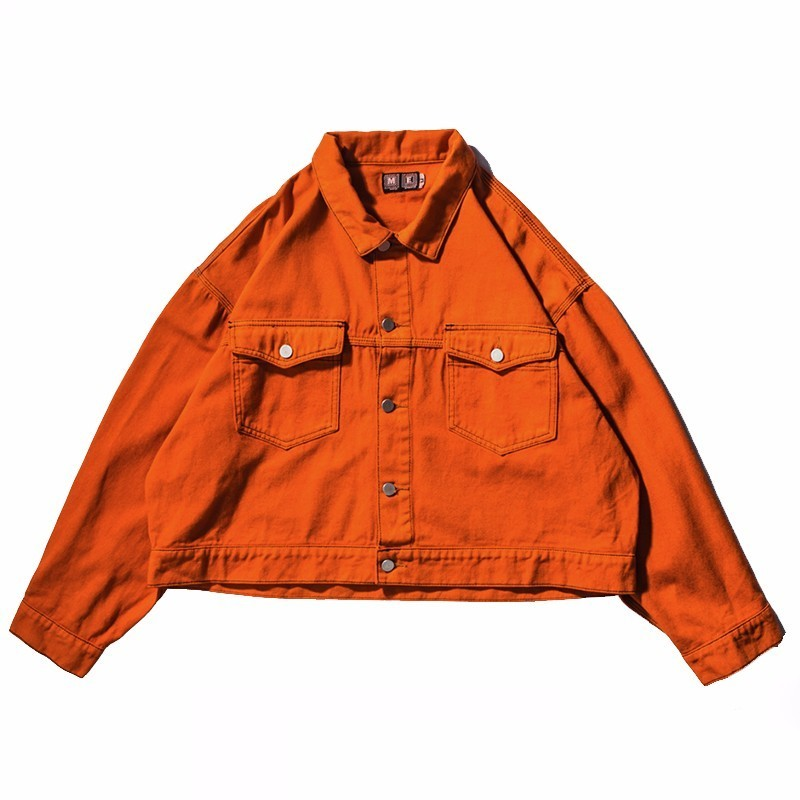 SHENGPALAE Short Design Denim Jacket Men Women 2019 New Fashion Loose Jackets Streetwear Clothing Orange Black