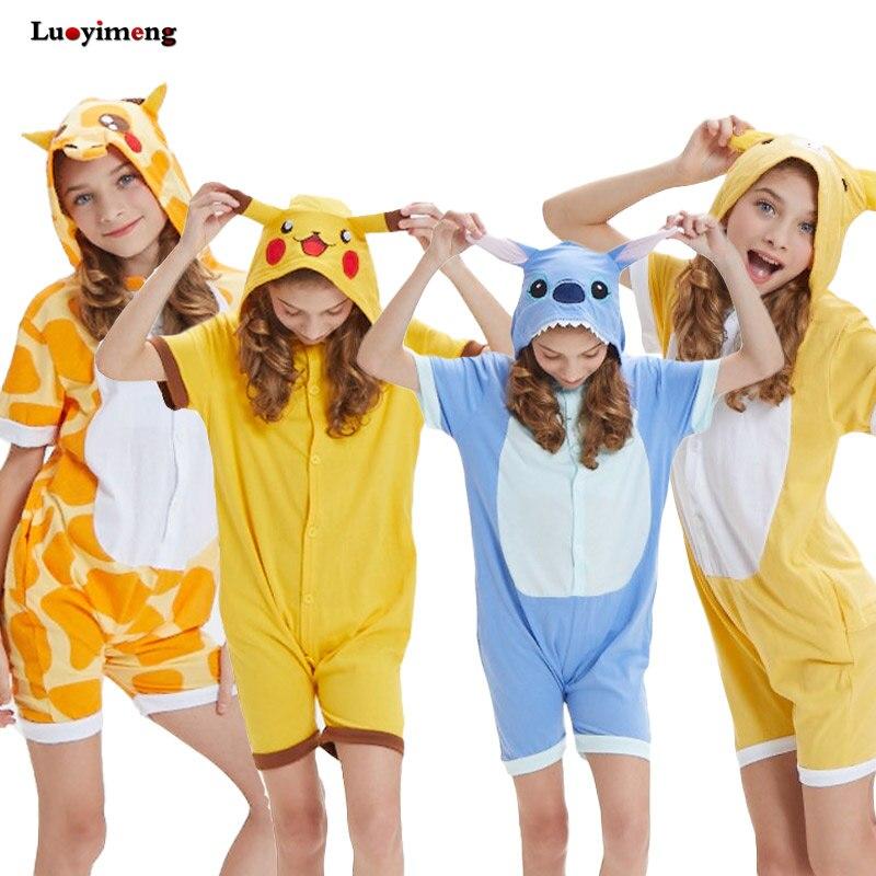 Girls Boys Clothes Summer Pajamas Jumpsuit For Kids Short Sleeve Cartoon Unicorn Onesie Sleepwear Pokemon pijama de unicornio