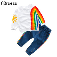 2018 New Baby Clothing Fashion Rainbow Style Children Clothes Sets For Baby Girls 0 3Y Spring