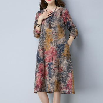 KANCOOLD Dress Fashion Women Long Sleeve O Neck Pocket Dress Cotton Linen Printed Loose Casual Dress women 2018AUG7 2