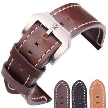 24mm Cowhide Watchband Men Vintage Genuine Leather Black Dark Brown Watch Band Strap Wiht Stainlee Steel Pentagram Clasp стоимость