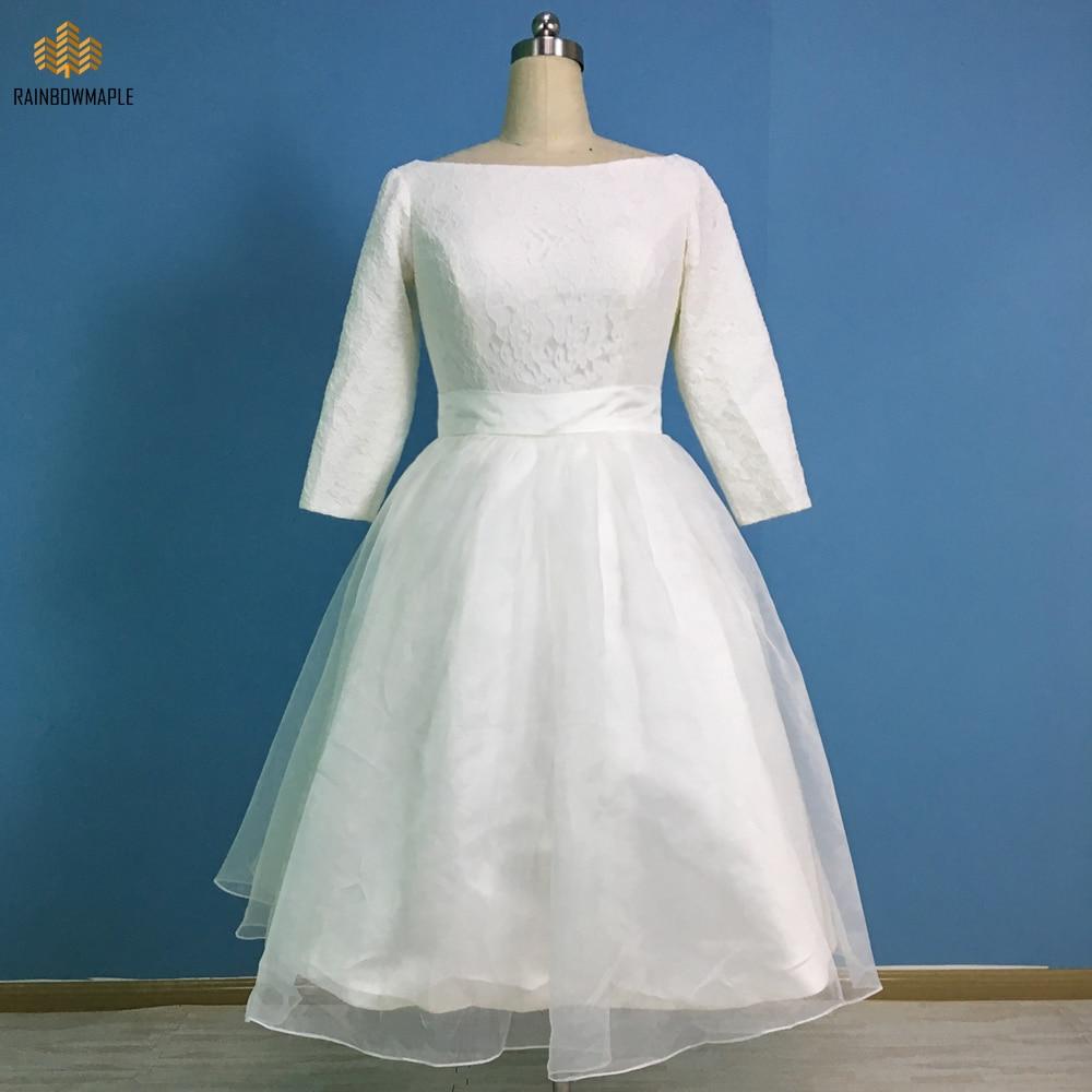 Elegant Long Sleeve Tea Length Wedding Dresses Simple Tulle Lace ...