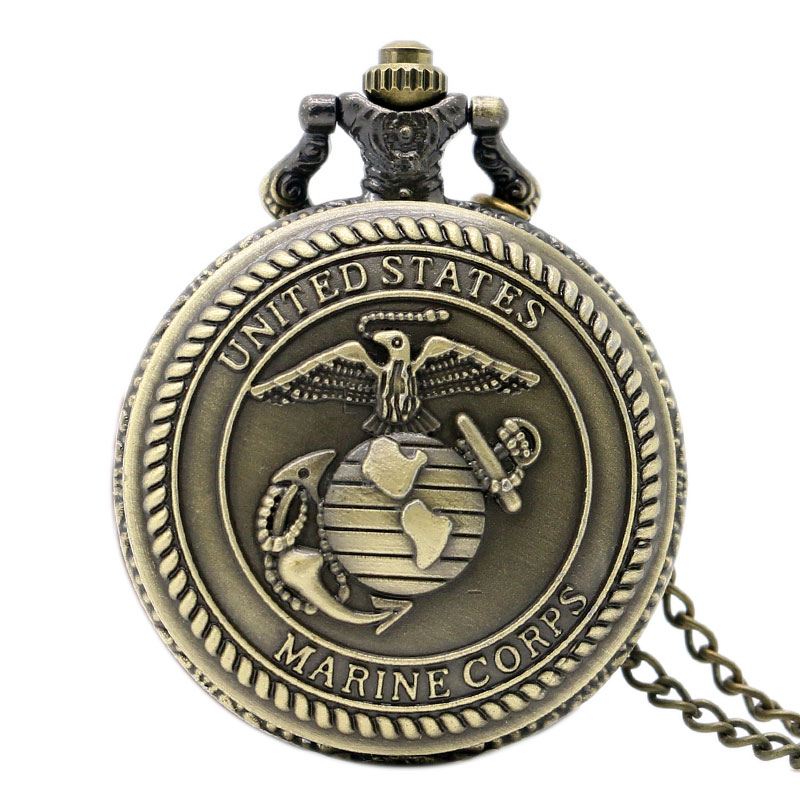 Old Antique Bronze United States Marine Corps Design Pocket Watch High Quality Quartz Watch