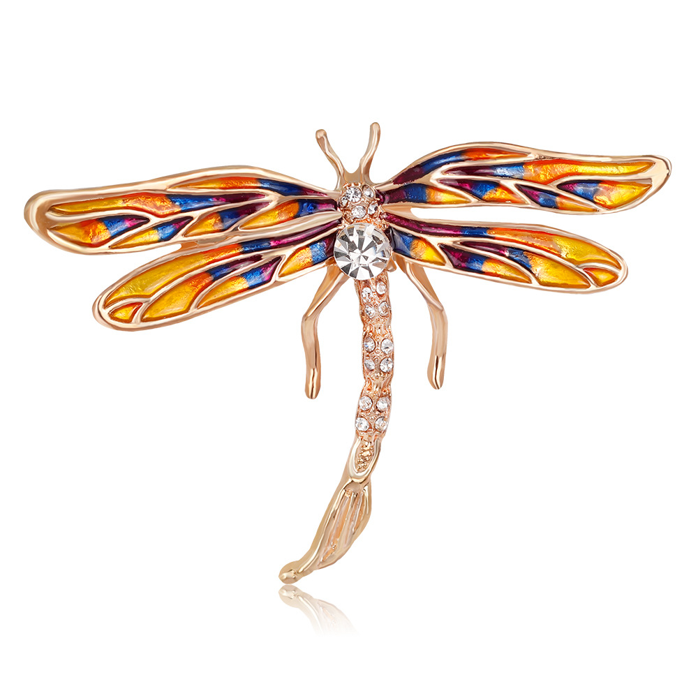 Fashion Brooch Personality Painted Dragonfly Brooch Insect Series Boutonniere