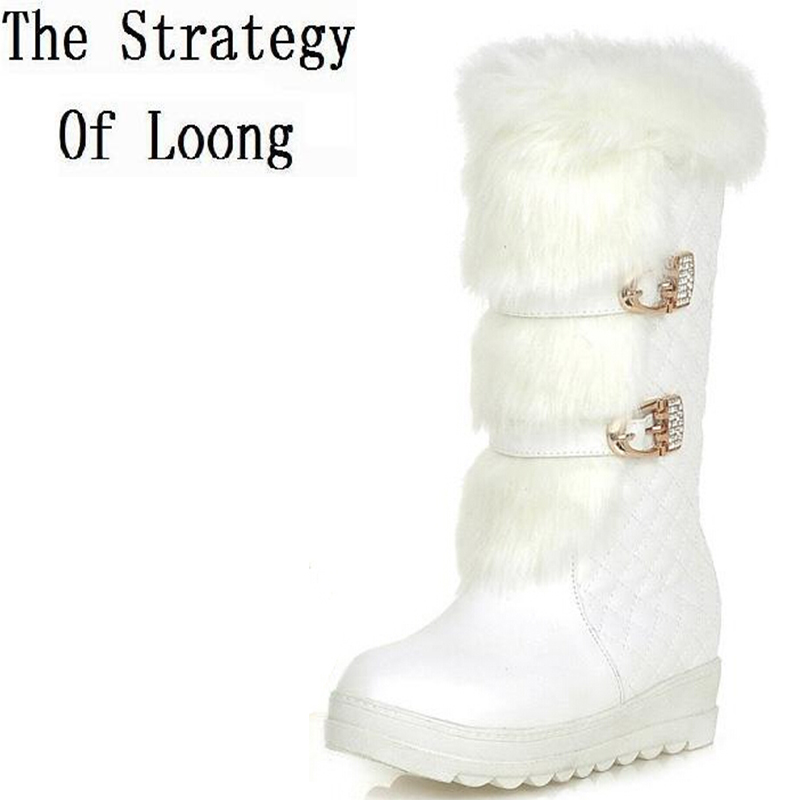2017 New Women Winter Wedges Chunky Heel Height Increase Elevator Buckle Round Toe Fashion Warm Snow