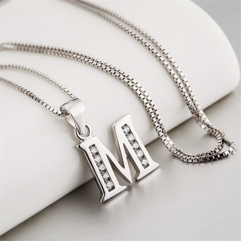 Aliexpress buy genuine 925 sterling silver jewelry cz crystal aliexpress buy genuine 925 sterling silver jewelry cz crystal initial letter m necklaces pendants fashion jewelry mike pendant women gnd0389 from aloadofball Image collections