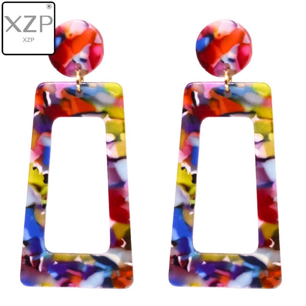 XZP เสือดาวพิมพ์ Multi-สีอะคริลิค Acetic Acid Drop ต่างหูสำหรับสาวบุคลิกภาพเรขาคณิตจี้ต่างหู