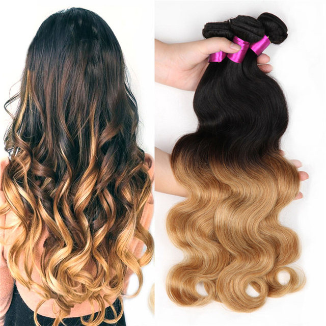 Real Virgin Human Hair Weaves Ombre Color Dark Brown Honey Blonde