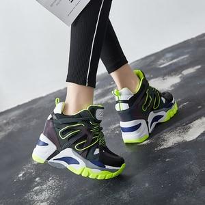 Image 3 - SWYIVY Wedge Chunky Sneakers kobiety obuwie 2019 nowe oddychające szczupłe nogi czarne trampki platformowe buty dla kobiety Sneaker