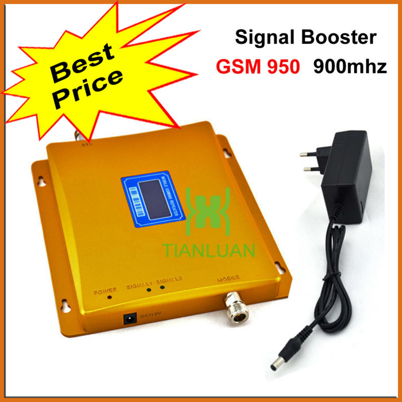 2G GSM 900Mhz Mobile Phone Signal Booster GSM950 Signal Repeater GSM Signal Amplifier with Power Supply LCD Display / Golden2G GSM 900Mhz Mobile Phone Signal Booster GSM950 Signal Repeater GSM Signal Amplifier with Power Supply LCD Display / Golden