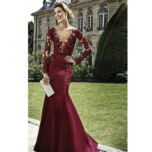 Vestidos Dark Red Evening Dresses 2016 Burgundy Long Sleeves Lace ...
