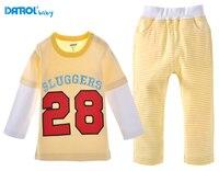 DANROL 2 Stücke 12 Mt ~ 3 T Kinder t-shirt + Gelb NO. 28 Hosen Kleinkind Jungen Atmungsaktive schweiß Langen Ärmeln Baumwolle Baby-kleidung Sets V20