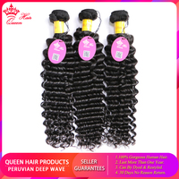 Queen Hair Peruvian Deep Wave Hair 3pcs/lot Bundles Deal Weave Bundle Remy Hair Weaving Human Hair Extensions Natural Color 1B