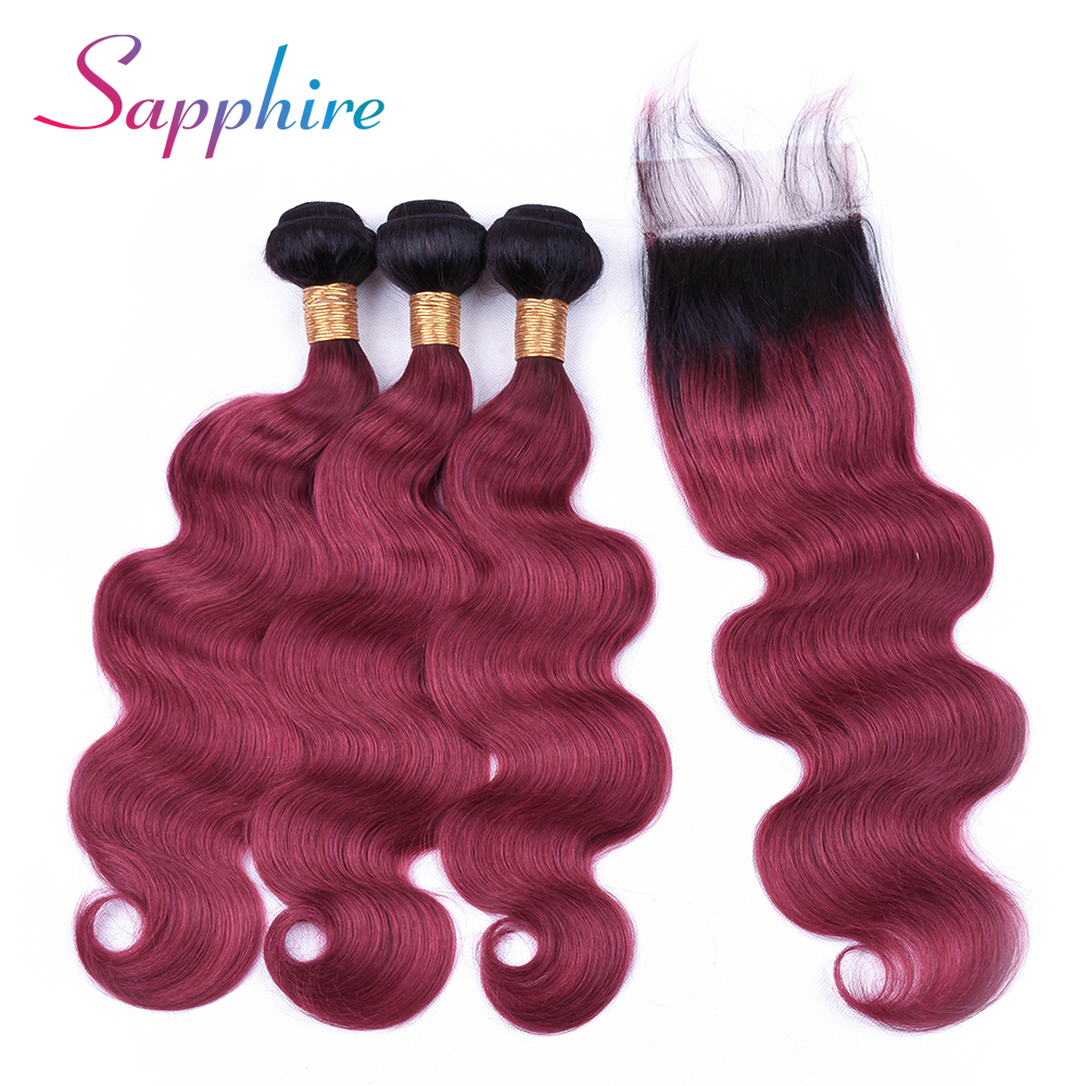 Sapphire Brazilian Hair Body Wave 3 Bundles With Closure Ombre Human Hair Bundles With Lace Closure 1b/99J Ombre Color