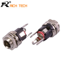 DC 5.5mm X 2.1mm Panel Mount Female DC Power Supply Adapter Metal Jack Sockets Connector R Connector Wholesale 100pcs/lot