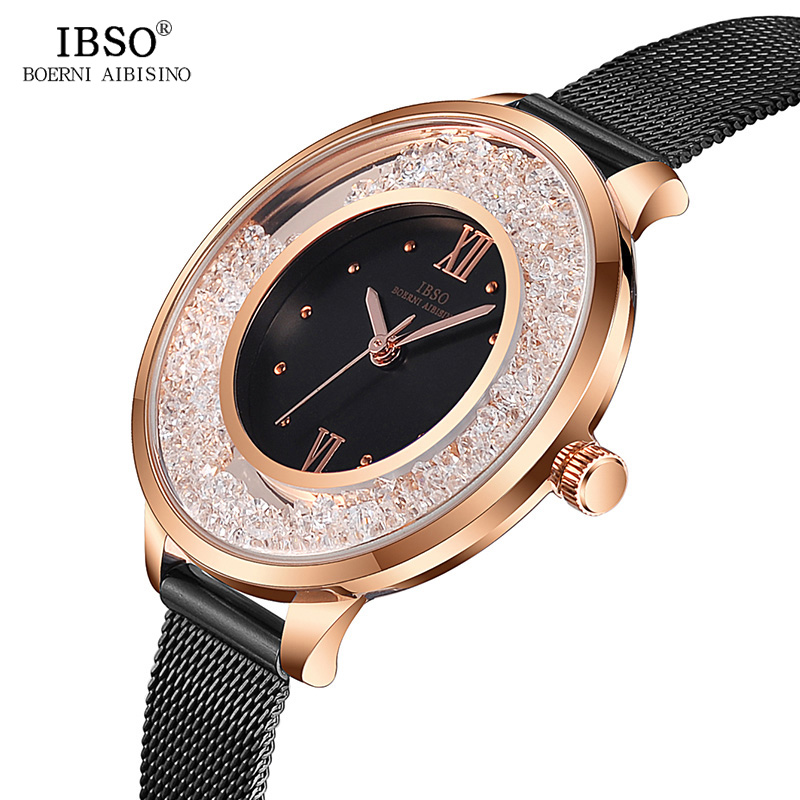IBSO Stainless Steel Women Watches Top Brand Luxury Crystal Dial Ladies Bracelet Watches 2018 New Female Quartz Watch #S8661L ibso luxury stainless steel quartz watch women blue wrist watch reloj mujer 2018 top brand crystal ladies bracelet watches