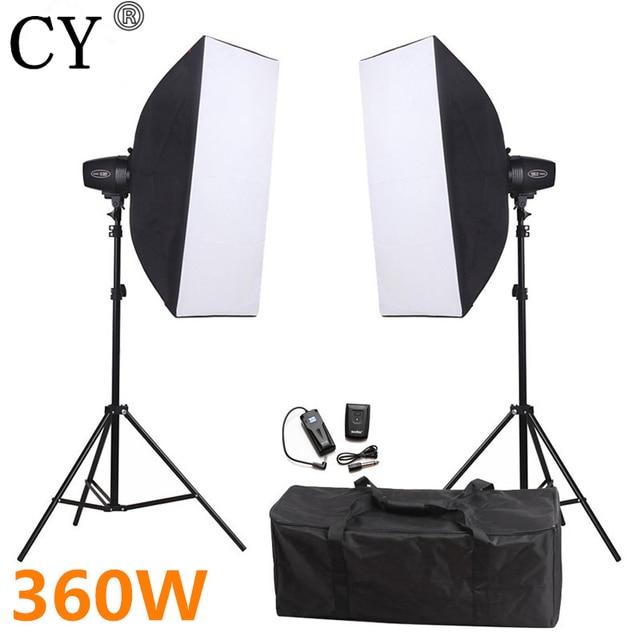 CY Photography 360ws Studio Soft Box Flash Lighting Kits Photo Studio Accessories Equipments Godox K-180A