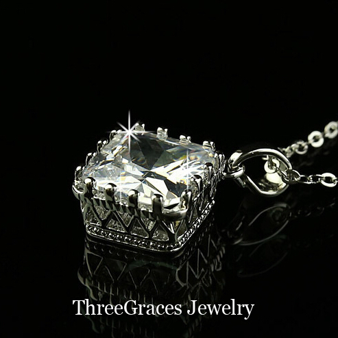 ThreeGraces High Quality CZ Stone White Gold Color Princess Cut Cubic Zirconia Pendant Necklace For Fashion Women Jewelry PN035