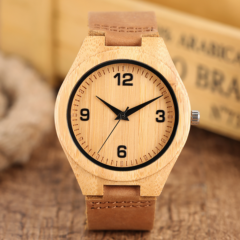 Simple Bamboo Watch Large Numeral Dial Analog Genuine Leather Strap Concise Men Women Wood Wristwatch <font><b>Unisex</b></font> Sport Wooden Clock image