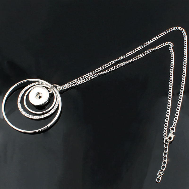 New Trendy Ethnic Style Three Loop Pendant Snap Necklace Fit DIY 18MM Snap Buttons Jewlery Wholesale ZG025