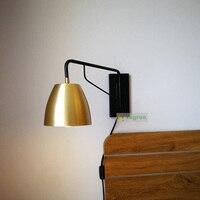 Nordic Ретро кованого железа Светодиодные лампы Винтаж латунь бра настенные светильники прикроватная тумбочка для спальни лампы для чтения о