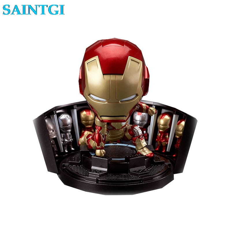 SAINTGI Iron man MARK42 349# New Avengers Q Tonny Marvel Figures PVC 10cm Hot Magic Animation Collection Globos книги эксмо gakken 3 рисование пастельным карандашом