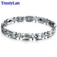 Trustylan moda pulseiras de aço inoxidável para mulheres femme senhoras saúde magnética pulseira feminina ajustável pulseiras de pulso