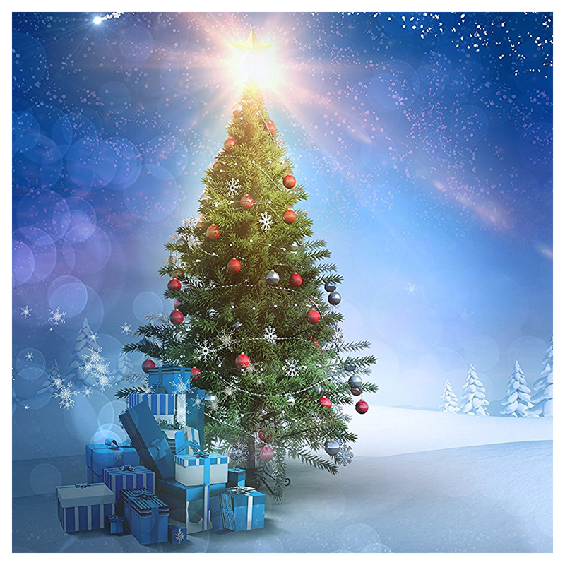 7x5ft Blue Sky Xmas Photography Backdrop Snow Christmas Tree Glitter Star Snowflake Forest Winter Background Back drop