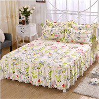 3pcs bed skirt Pillow cases floral modern sheet set bed skirt pillow shams bedclothes, size 120*200/150*200/180*200/200*220cm