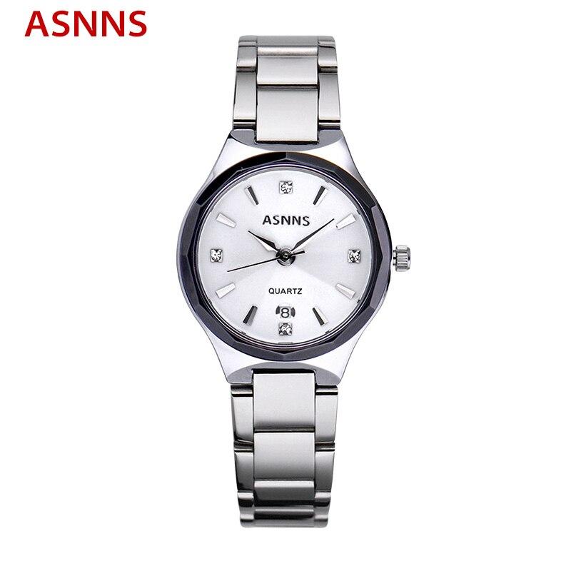 ФОТО ASNNS Brand Luxury Women Watches Stainless Steel Quartz Ladies Dress Wristwatch Waterproof Female Sport Watch relogio feminino