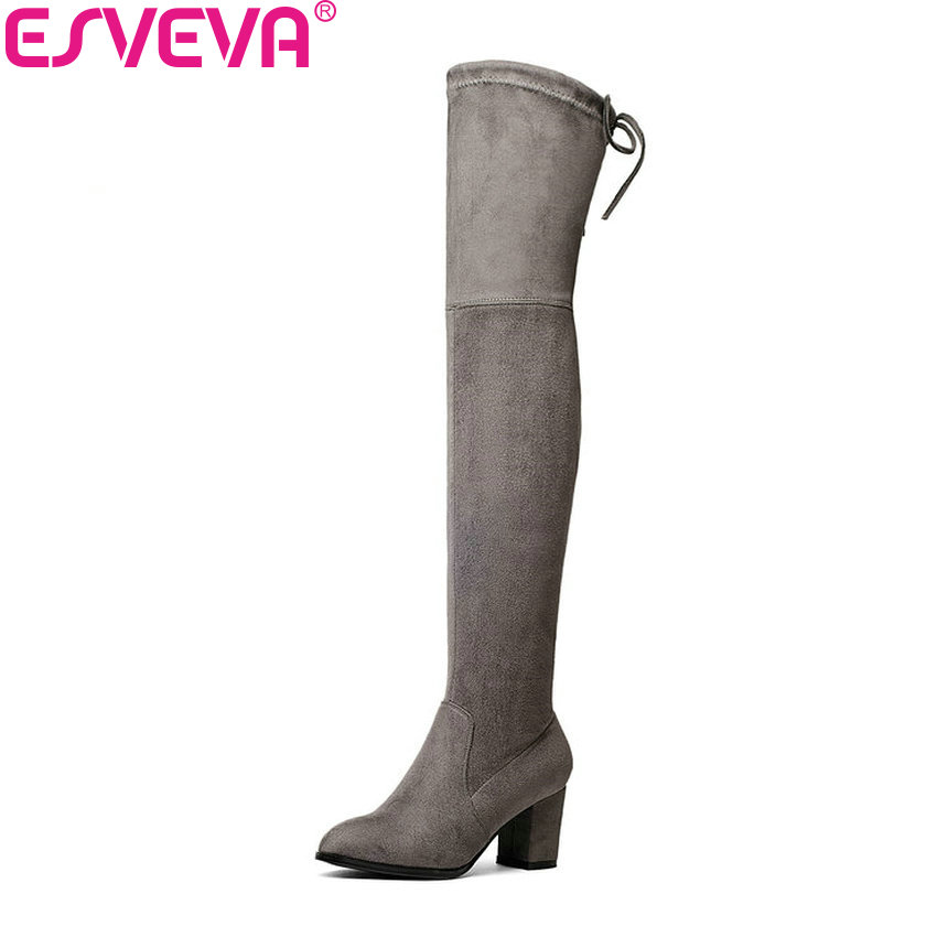 ESVEVA 2017 Over The Knee Boots Flock Winter Round Toe Women Boots Ladies Lace Up Stretch Fabric Fashion Boots Big Size 34-43 esveva 2017 western style flock women boots over the knee boots winter square high heel ladies lace up fashion boots size 34 43