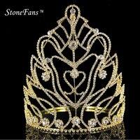 StoneFans Prinzessin Geburtstag Party Crown Mädchen Königin Haar Zubehör Herz Weihnachten Brautjungfer Hochzeit Geschenk Schmuck Frauen Clips