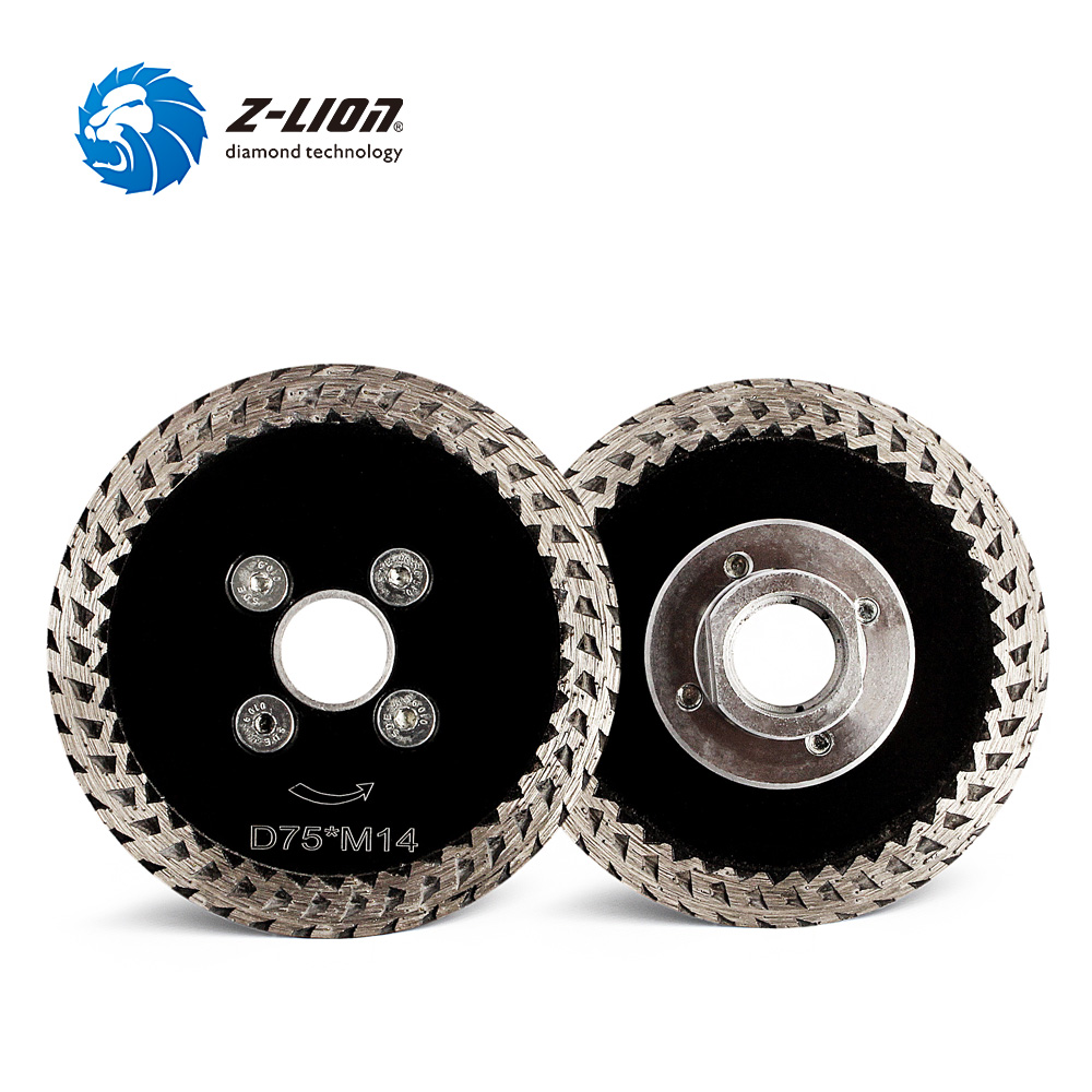 Z-LION 2pcs 3 Inch Diamond Saw Blades Hot Pressed Mini Cutting Disc Turbo Rim Diamond Blade With Removable M14 Flange For Stone