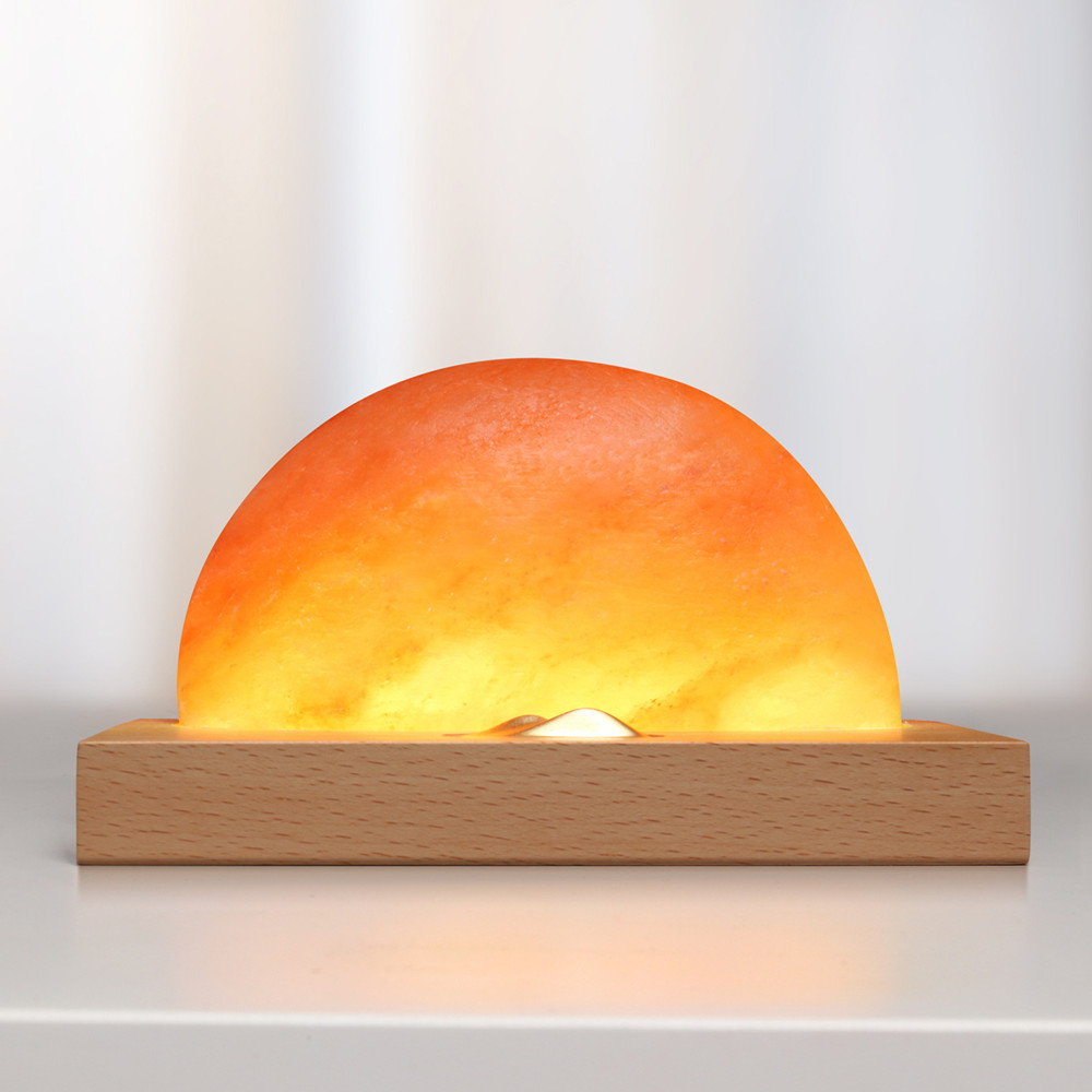 HZFCEW Touch Dimming Sunrise LED Gift Night Light Himalayan Salt Lamp with Mobile Phone USB Charging Solid Wood Base FR362