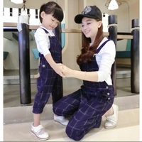 Family Christmas Pajamas Family Clothing Sets White T Shirts Overalls Kids Two Piece Set Overalls For