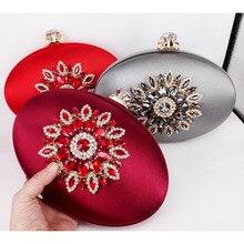 Mode runde ovale form satin mit kristallen kupplung kette umhängetasche frauen handtasche Gold Abendtasche Hochzeit Geldbörse X61